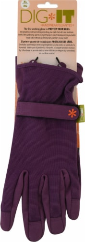 Dig It Handwear - Women's Gardening Gloves with Fingertip Protection - XL - Purple Perspective: front