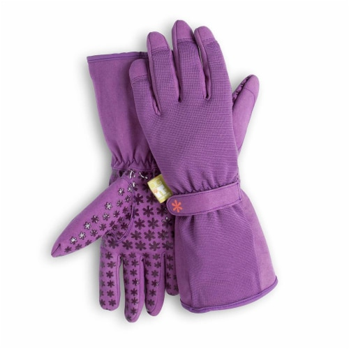 Dig It High 5 - Women's Gardening Gloves with Fingertip Protection - Small Medium - Purple Perspective: front