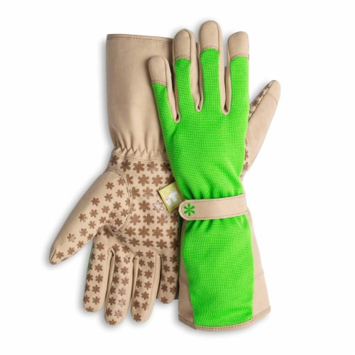 Dig It High 5 - Women's Gardening Gloves with Fingertip Protection - Small Medium - Green Tan Perspective: front