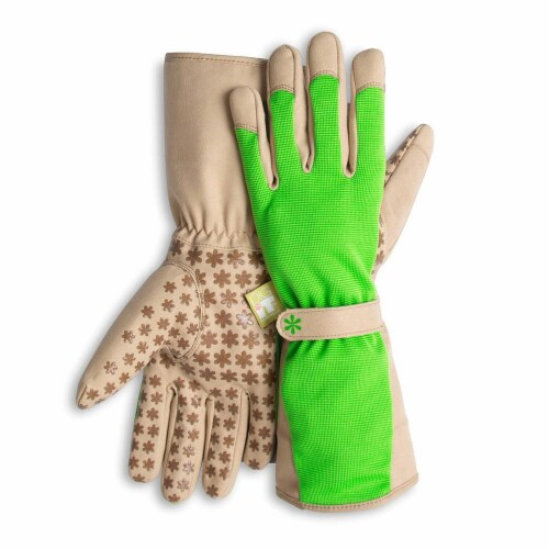 Dig It High 5 - Women's Gardening Gloves with Fingertip Protection - XL -  Green Tan Perspective: front