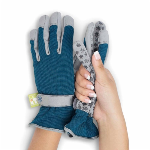 Dig It Handwear - Women's Gardening Gloves with Fingertip Protection - Large - Grey Blue Perspective: front