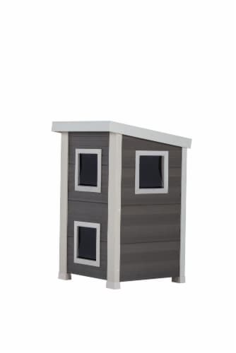 Feral Cat Townhouse /Gray/Antique White Perspective: front