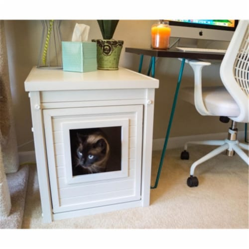 New Age Pet Litterloo Litter Box Cover/End Table - Antique White Perspective: front