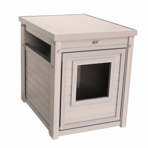 New Age Pet Litterloo Litter Box Cover/End Table - Grey Perspective: front