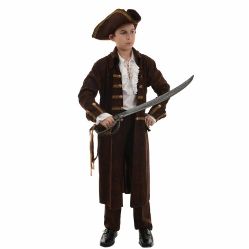 Morris Costumes UR26300LG Pirate Captain Brown Child Costume, Large 10-12 Perspective: front