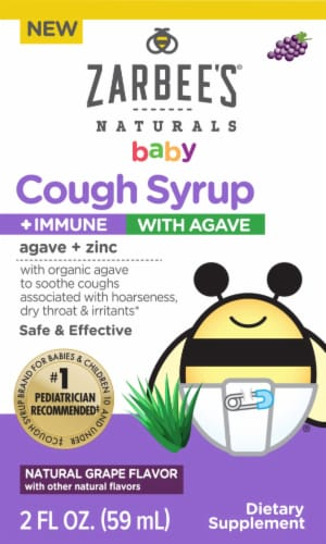 Zarbee's Baby Natural Grape Flavor Cough Syrup + Immune with Agave Perspective: front