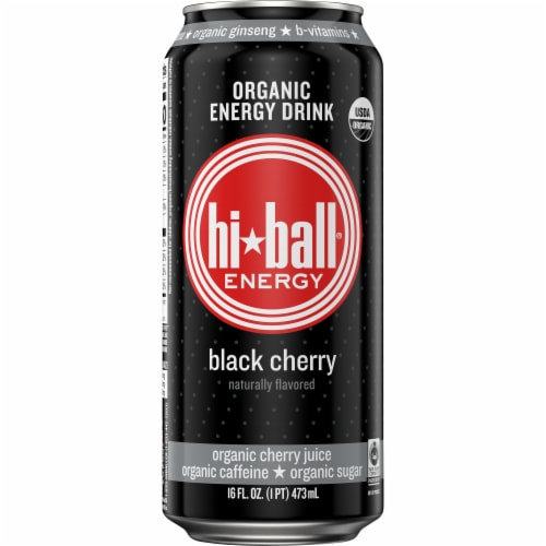 HiBall Black Cherry Organic Energy Drink Perspective: front