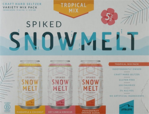 Upslope Brewing Co. Spiked Snowmelt Tropical Mix Craft Hard Seltzer Variety Pack Perspective: front