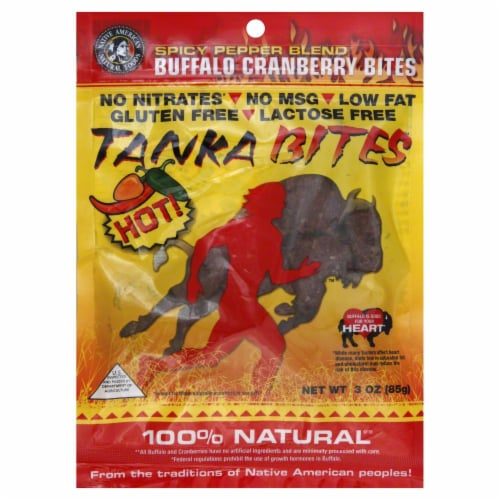 Tanka Bites Buffalo Meat With Cranberries And Pepper Blend Perspective: front