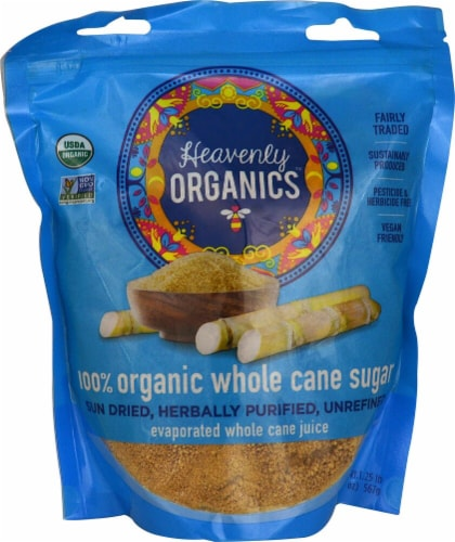 Heavenly Organics  100% Organic Whole Cane Sugar Perspective: front