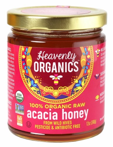 Heavenly Organics Raw Acacia Honey Perspective: front