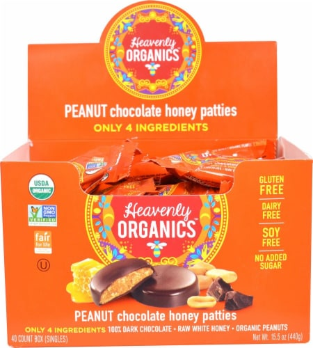 Heavenly Organics Gluten Free Peanut Chocolate Honey Patties Candy Perspective: front