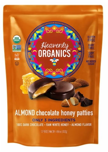 Heavenly Organics Gluten Free Chocolate Almond Honey Patties Perspective: front