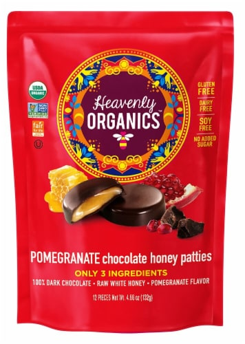 Heavenly Organics Pomegranate Chocolate Honey Patties Candy Perspective: front
