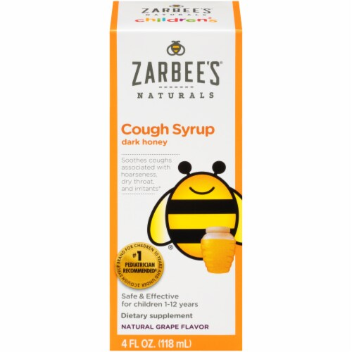 Zarbee's All Natural Children's Grape Cough Syrup with Dark Honey Perspective: front
