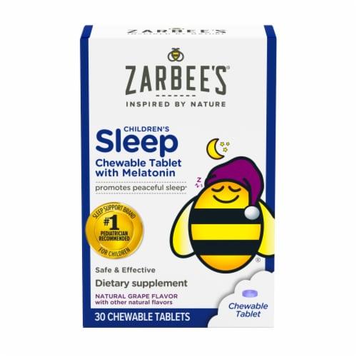 Zarbee's Naturals Children's Sleep Grape Chewable Tablets with Melatonin Dietary Supplement Perspective: front