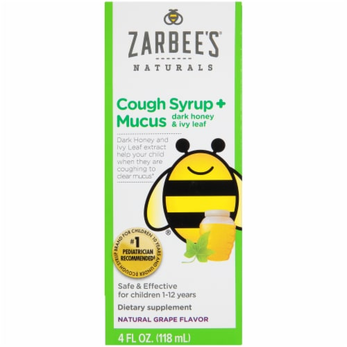 Zarbee's Naturals Dark Honey & Ivy Leaf Grape Flavored Cough Syrup Perspective: front