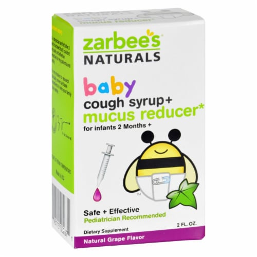 Zarbee's Naturals Baby Grape Flavor Cough Syrup + Mucus Relief Perspective: front