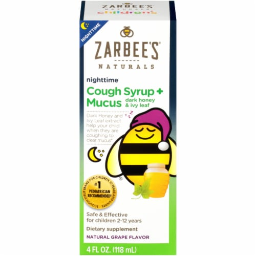 Zarbee's Naturals Children's Grape Flavor Nighttime Cough Syrup + Mucus Relief Perspective: front