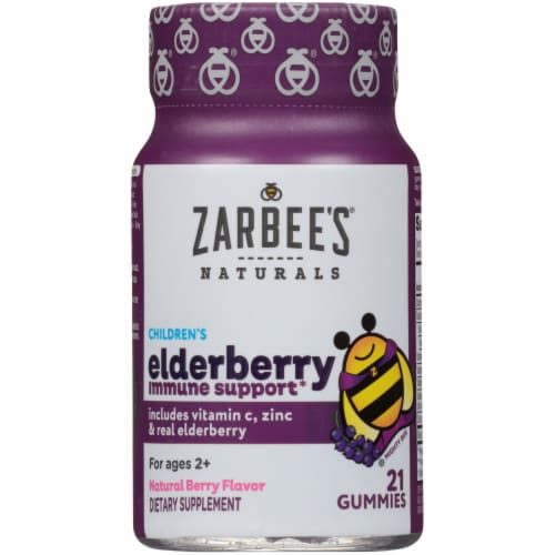 Zarbee's Natural's Children's Elderberry Flavored Immune Support Dietary Gummies Perspective: front