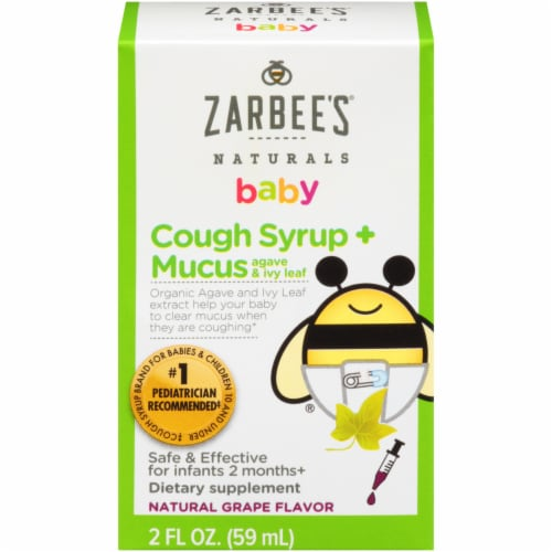 Zarbee's Naturals Baby Agave & Ivy Leaf Grape Cough Syrup + Mucus Dietary Supplement Perspective: front