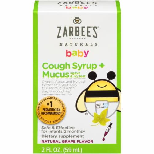 Zarbee's® Naturals Baby Cough + Mucus Grape Liquid Supplement Perspective: front