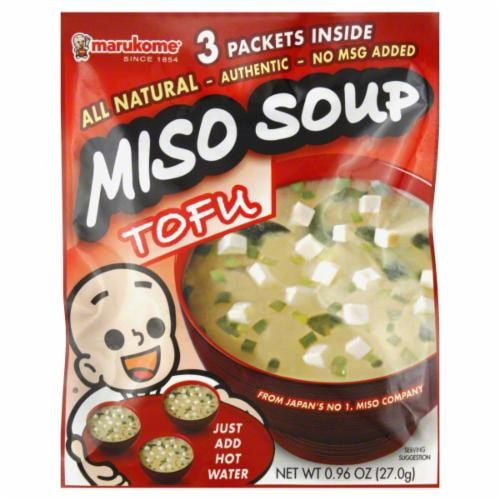 Marukome Instant Miso Soup Packet Tofu Perspective: front