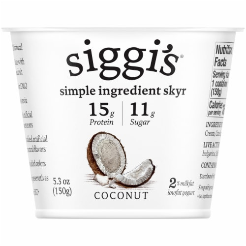 Siggi's Coconut Skyr Icelandic Style Strained Low Fat Yogurt Perspective: front