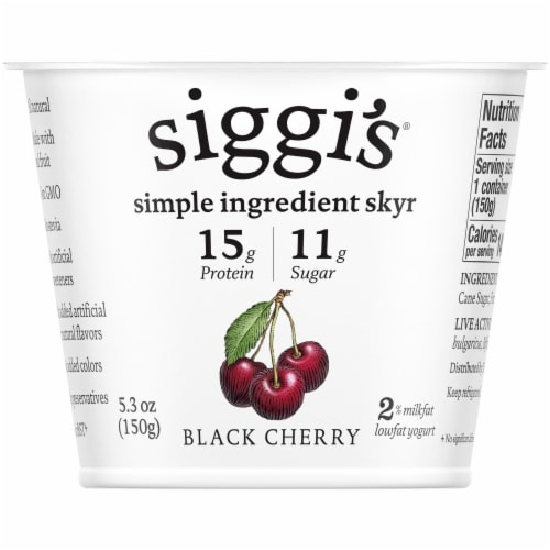 Siggi's Black Cherry Icelandic-Style Cream-Skyr Strained Low-Fat Yogurt Perspective: front