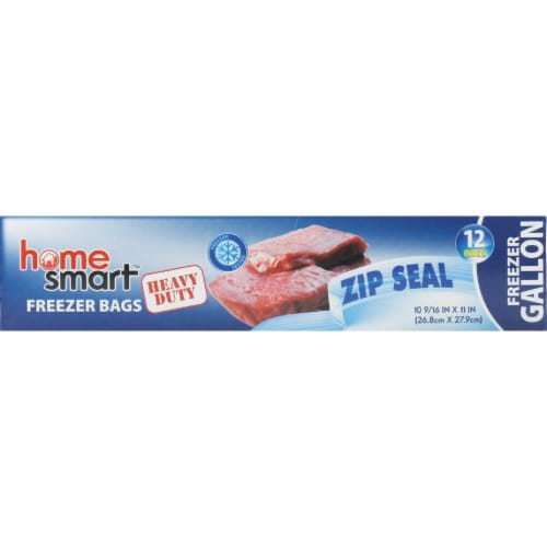 Home Smart Zip Seal Gallon Freezer Bag (12-Count) HS-00250 Pack of 24 Perspective: front