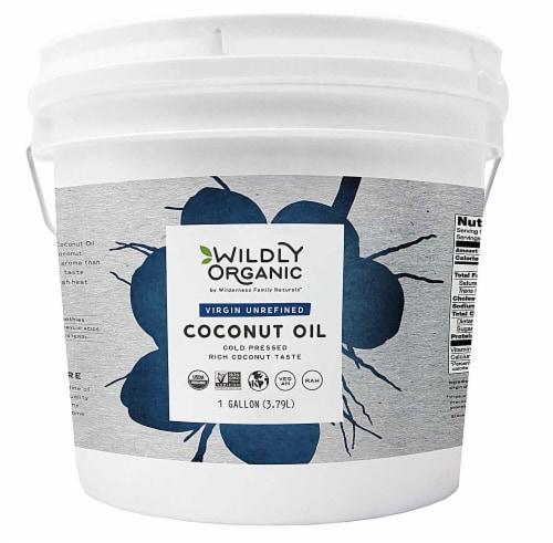Wildly Organic  Virgin Unrefined Coconut Oil Perspective: front