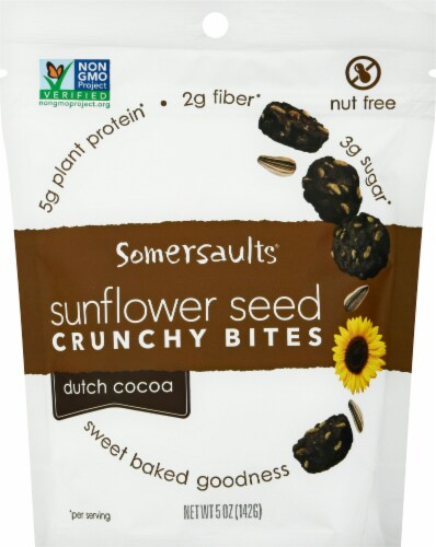 Somersaults Dutch Cocoa Crunchy Sunflower Seed Bites Perspective: front