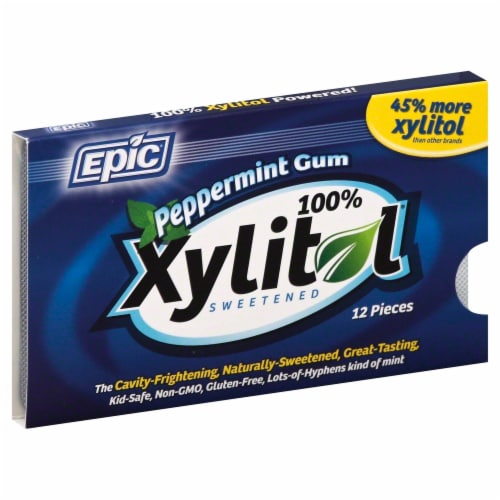 Epic Dental Xylitol Peppermint Gum Perspective: front