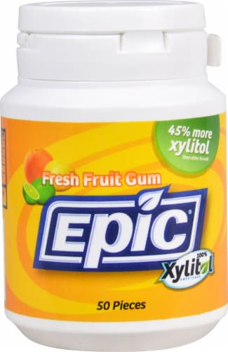 Epic Dental  Xylitol Sweetened Gum   Fresh Fruit Perspective: front