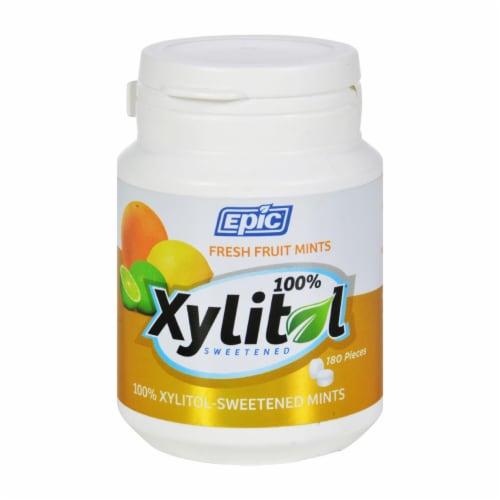 Epic Dental - Xylitol Mints - Fruit Xylitol Bottle - 180 ct Perspective: front