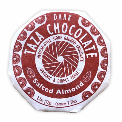 Taza Chocolate Organic Salted Almond Dark Chocolate Mexicano Discs Candy Perspective: front