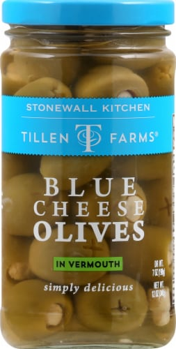 Tillen Farms Blue Cheese Olives in Vermouth Perspective: front