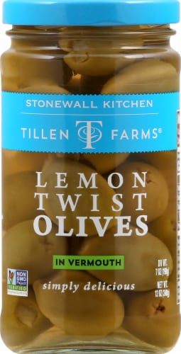Tillen Farms Lemon Twist Olives in Vermouth Perspective: front
