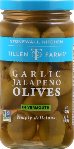 Tillen Farms Garlic Jalapeno Olives in Vermouth Perspective: front