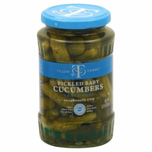 Tillen Farms Pickled Baby Cucumbers Perspective: front