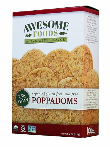 Awesome Foods  Organic Raw Poppadoms Gluten Free Perspective: front