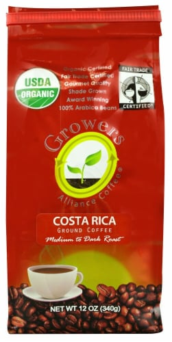 Growers Alliance Coffee  Organic Ground Coffee   Costa Rica Perspective: front