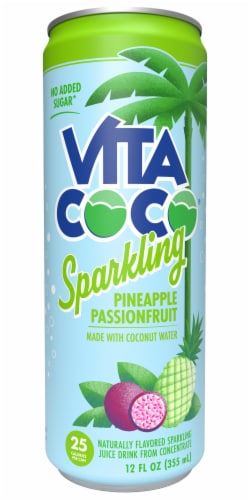 Vita Coco Sparkling Pineapple Passionfruit Coconut Water Sparkling Juice Drink Perspective: front
