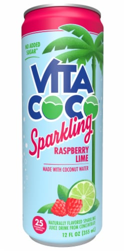 Vita Coco Sparkling Raspberry Lime Coconut Water Sparkling Juice Drink Perspective: front