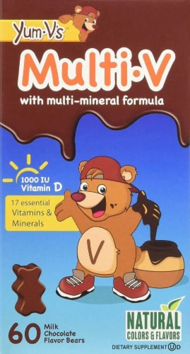 Yum V's  Multi-V with Multi-Mineral Formula Dietary Supplement   Milk Chocolate Perspective: front