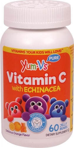 Yum V's  Vitamin C with Echinacea   Yummy Orange Perspective: front