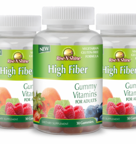 Rise-N-Shine High Fiber Gummy Vitamins-30 Count Perspective: front