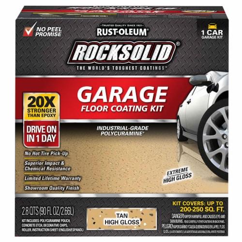 Rust-Oleum 60007 RockSolid Polycuramine Garage Floor Coating Tan 1 Car Garage Kit Perspective: front