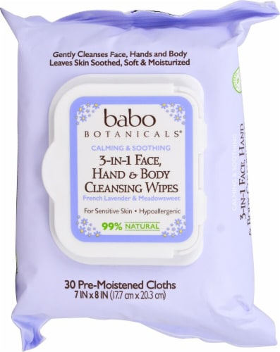 Babo Botanicals  3-In-1 Face Hand & Body Cleansing Wipes French Lavender & Meadowsweet Perspective: front