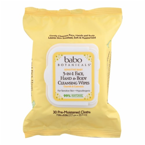 Babo Botanicals  3-In-1 Face Hand & Body Cleansing Wipes Oatmilk & Calendula Perspective: front